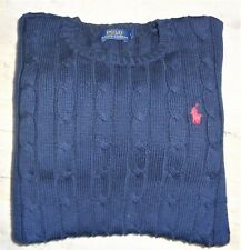 EX-CON RALPH LAUREN POLO SIZE SMALL CABLE KNIT NAVY JUMPER SWEATER WOMENS