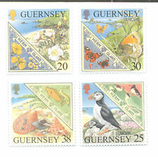 Guernsey-Birds-Butterflies-Flowers-Europa 1989 set mnh-Puffin