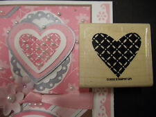 Stampin Up rubber stamp LATTICE HEART perfect 4 accent, tag, or card Fit punch