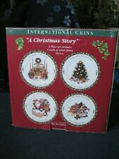 """A CHRISTMAS STORY"" INTERNATIONAL CHINA SALAD PLATES ~ SET OF 4 ~"