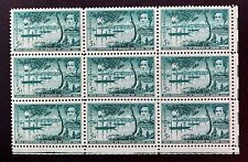 US Stamps, Scott #1021 5c Opening of Japan Centennial 1953 Block of 9 XF M/NH
