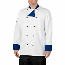 Brand New Chefwear Men Lined Cotton Traditional Chef Coat White with Blue
