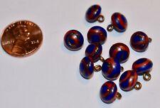 VINTAGE 12 COBALT BLUE AND ORANGE SWIRL GLASS BUTTONS * 9Mmm * JAPAN GLASS