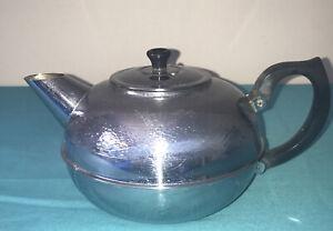 Britdis Teapot 6 Cup Chrome on Copper New Zealand Vintage 1970's Textured