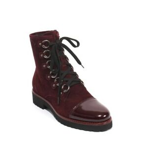 Luca Grossi 258e Burgundy Suede Patent Leather Zip Lace Ankle Boot 40 / US 10