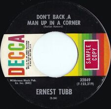 Ernest Tubb ORIG US Promo 45 Don't back a man up in a VG+ '71 Decca Country