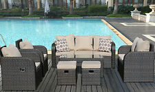 9 Seater Rattan Garden Sofa set + Reclining Chairs Conservatory Patio Furniture