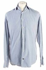 Vintage Mens Tommy Hilfiger Stripe Fitted Long Sleeve Shirts M Blue SH3912