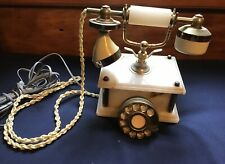 Antique Telephone Onyx Marble Rotary Dial Working Condition