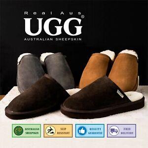UGG Real Aus 100% Australian Sheepskin Wool Mens Slippers ChocolateChestnutStone
