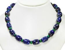 Necklace in Lapis Lazuli in Barrel Shape with Between azurit-malachit-linsen