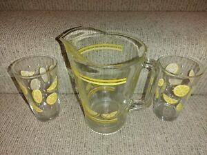 Vintage Mid Century CRISA Lemonade Pitcher & 2 Libbey Lemon Pint Glasses