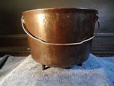 "Cast Iron Cauldron 3 Leg Pot 9 7/8"" Wide 7 3/4"" Tall Fold Down Bail Handle"