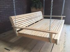 6ft Wooden Swing Bed Cypress Unfinish Wood Heavy Duty Chains Free Shipping
