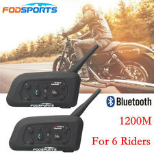 2x 1200M  Bluetooth Moto Casco Intercomunicador V6 Pro BT Interphone Auriculares