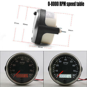 12V/24V 0-8000RPM Tachometer Gauge Tacho Meter With Digital LCD  OBD Hourmeter