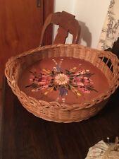 Antique Vintage Rare German Basket With Hand Painted Toile Wood Design Inside