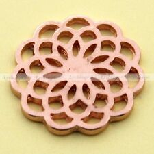 1X Rosy Gold Flower Floating Charms Hollow Plate For Glass Living Memory Lockets