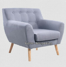 Large Linen Fabric One Single Seater Sofa Tub Arm Chair Dining Room Living Grey