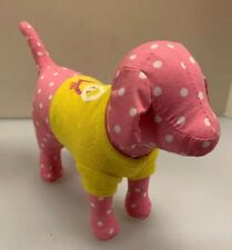 Victoria's Secret Pink Stuffed Dog Plush White Polka Dot Yellow Shirt Peace Love