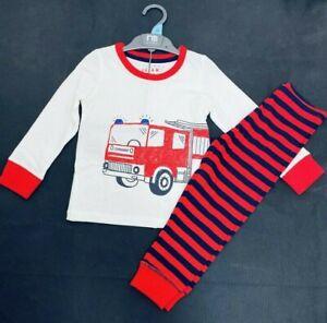 Ex Store Boys Fire Engine Red White Pyjamas Pjs Sleepwear Age 2/3 & 3/4 Years