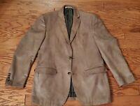 Rare Joseph Abboud Mens Blazer Sport Coat Jacket Size 40L Brown Faux Seude