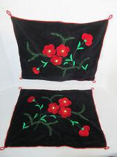 Pillow Cases Black Velvet Applique Poppy Flowers Vintage Hand Sewn Set of 2