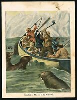 1900 Seamen Fighting with Walruses in the Polar Regions Antique Color Print