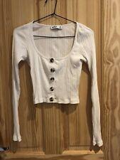 Hollister Faux Button White Long Sleeve Crop Top Size M
