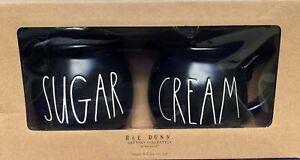 New Rae Dunn ~SUGAR & CREAM~ Set ~Black w/Large White Letters