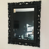 BLACK Resin  Style French Ornate Mirror Large Vintage Wall Dressing Table Mirror