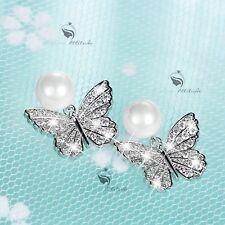 18k white gold gf crystal stud pearl earrings 925 silver pin butterfly
