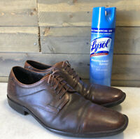 Johnston Murphy Brown Leather Bicycle Toe Dress Shoes Mens Size 11 M EUC 3-1