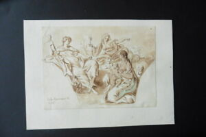 FRENCH SCHOOL 18thC - RELIGIOUS SCENE CIRCLE PARROCEL - FINE INK DRAWING
