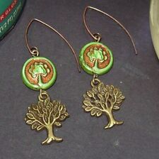 GREEN AND BRONZE TREE OF LIFE GLASS EARRINGS