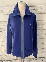 Puma Womens Track Jacket Size L Running Royal Blue Pockets Full Zip Stand Collar