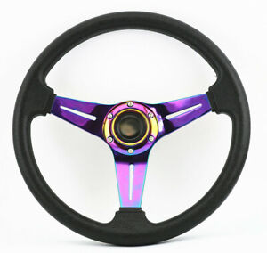 350MM Universal NEO CHROME JDM Off Road 6 BOLT Racing STEERING WHEEL & HORN