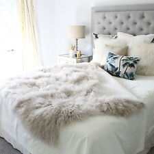 Beige Cream Taupe Mongolian Sheepskin throw Blanket Bed Cover Fur Single Bed