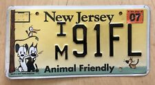 "NEW JERSEY ANIMAL FRIENDLY PLATE "" IM 91 FL "" DOG CAT DOGS CATS PETS  MUTTS NJ"