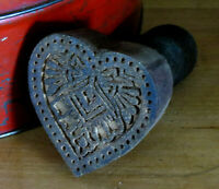 Farmhouse Grubby Primitive wood Valentine's HEART w Bow Butter Mold Stamp Press