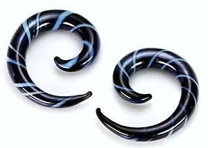 PAIR-Tapers Spiral Glass Black w/Blue Stripes 08mm/0 Gauge Body Jewelry
