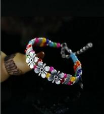 Fashion Tibetan Tibet  Silver Jewelry Colors Beads Bangle Chain Bracelets Gift