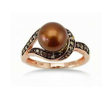 Pearl Ring 14K Rose Gold Chocolate Brown Diamond & Brown Pearl Fancy Ring .19ct