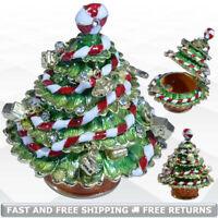 Xmas Tree Trinket Box with Hinged Lid Enamel Bejeweled Crystal Souvenir Ornament