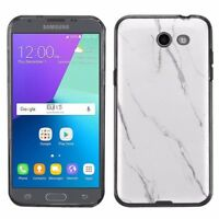 For Samsung Galaxy J3 Luna Pro / Eclipse TPU Case (Black) - Marble / White