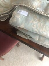 DUNELM Luxury  Duck Egg / Gold French Floral Lined Pencil Pleat Curtains