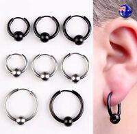 1 MEN Women Titanium Stainless No Allergy Hiphop Gothic ball Huggie Hoop Earring
