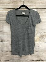 Madewell Women's XS Top 100% Linen Tee Heathered Gray T Shirt
