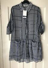 a09a1bae93 Zara Blue white Gingham Sequinned Shirt Dress Size XS