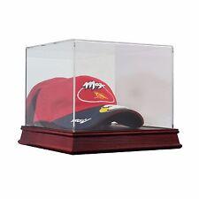 Saf-T-Gard Baseball Cap Hat Cherry Wood Base Acrylic Display Case AW15